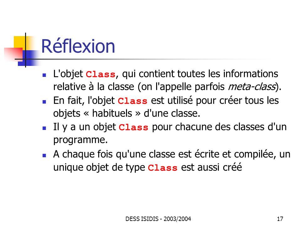 Réflexion L objet Class, qui contient toutes les informations relative à la classe (on l appelle parfois meta-class).