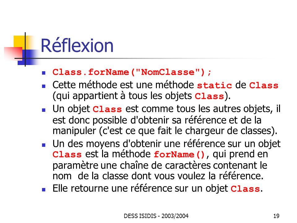 Réflexion Class.forName( NomClasse );