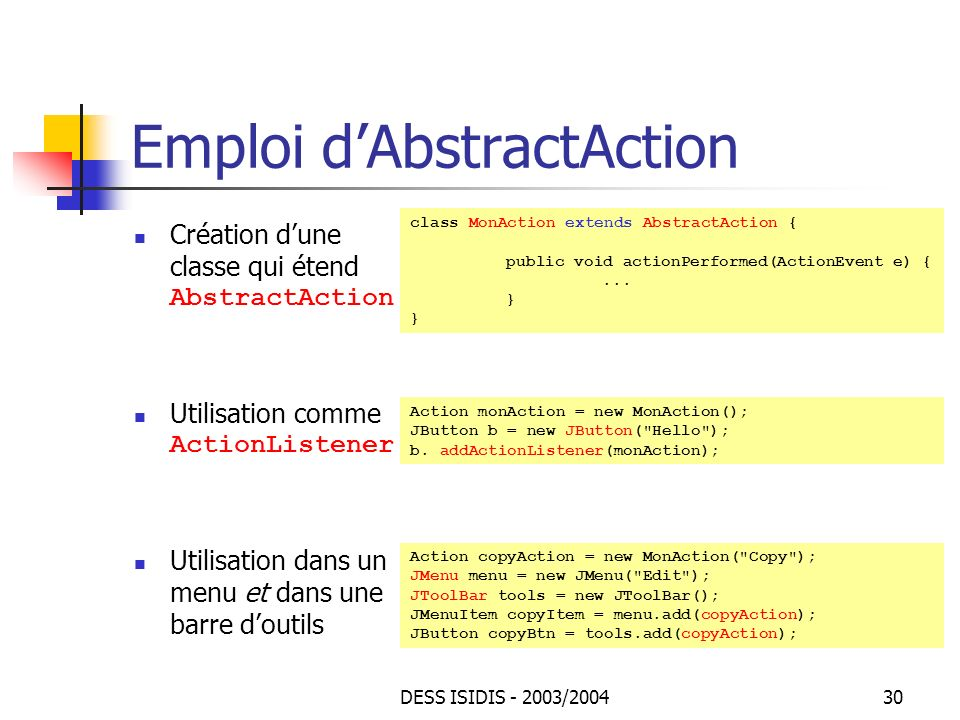 Emploi d'AbstractAction