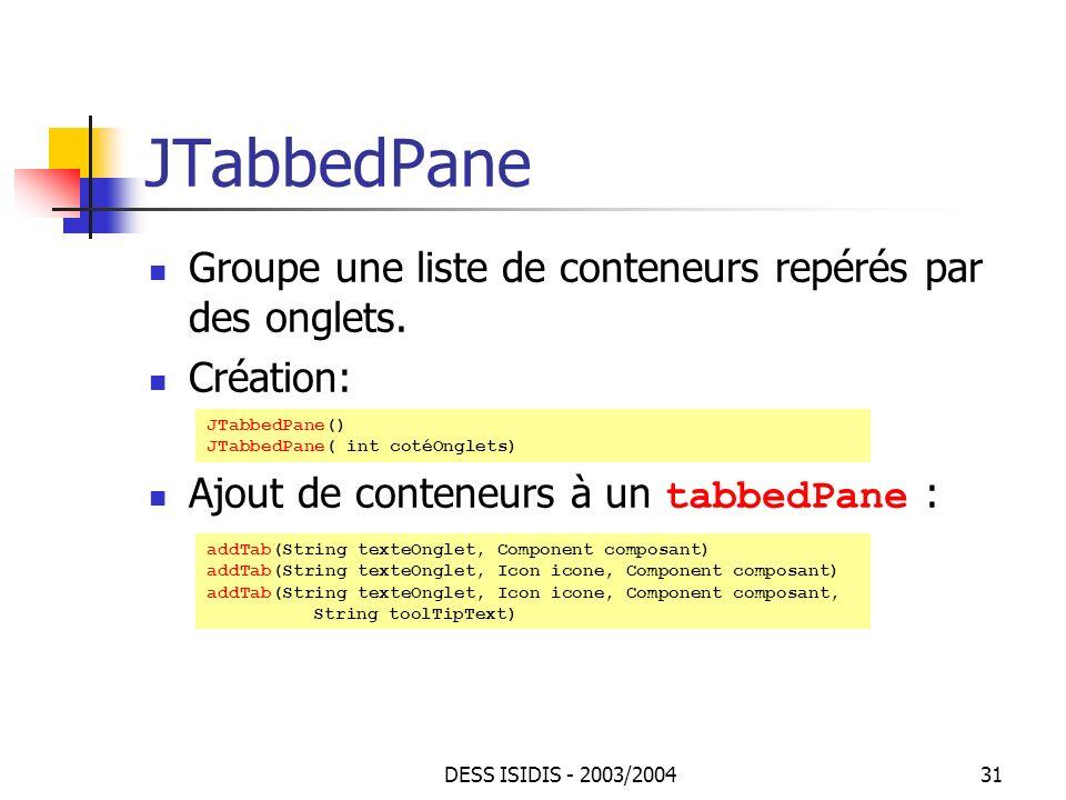 JTabbedPane Groupe une liste de conteneurs repérés par des onglets.