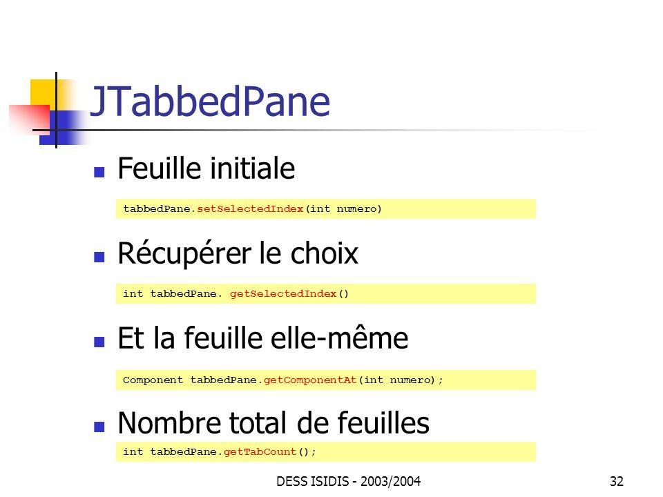 JTabbedPane Feuille initiale Récupérer le choix