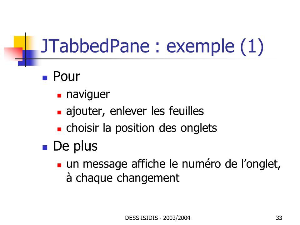 JTabbedPane : exemple (1)