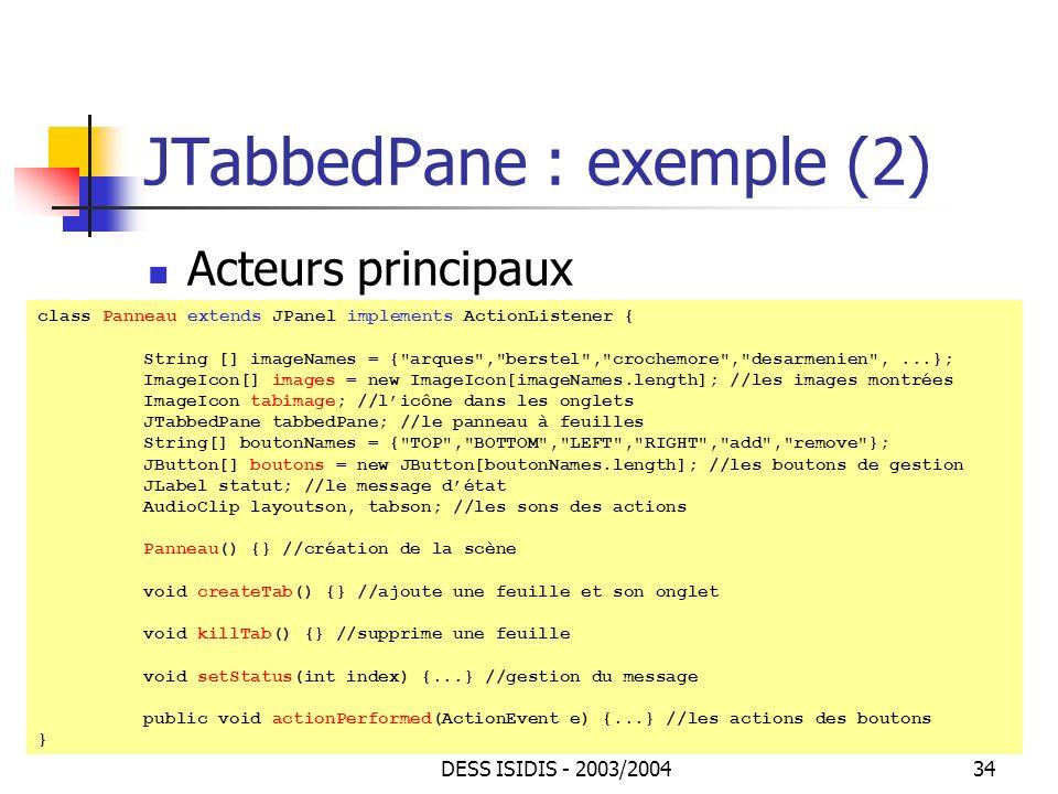 JTabbedPane : exemple (2)