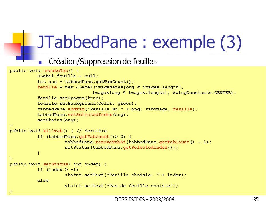 JTabbedPane : exemple (3)