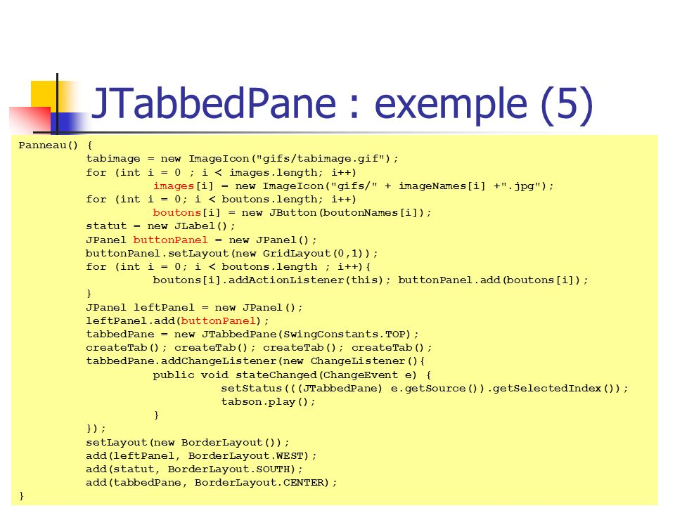 JTabbedPane : exemple (5)