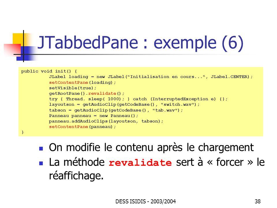 JTabbedPane : exemple (6)