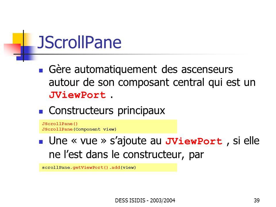 JScrollPane Gère automatiquement des ascenseurs autour de son composant central qui est un JViewPort .
