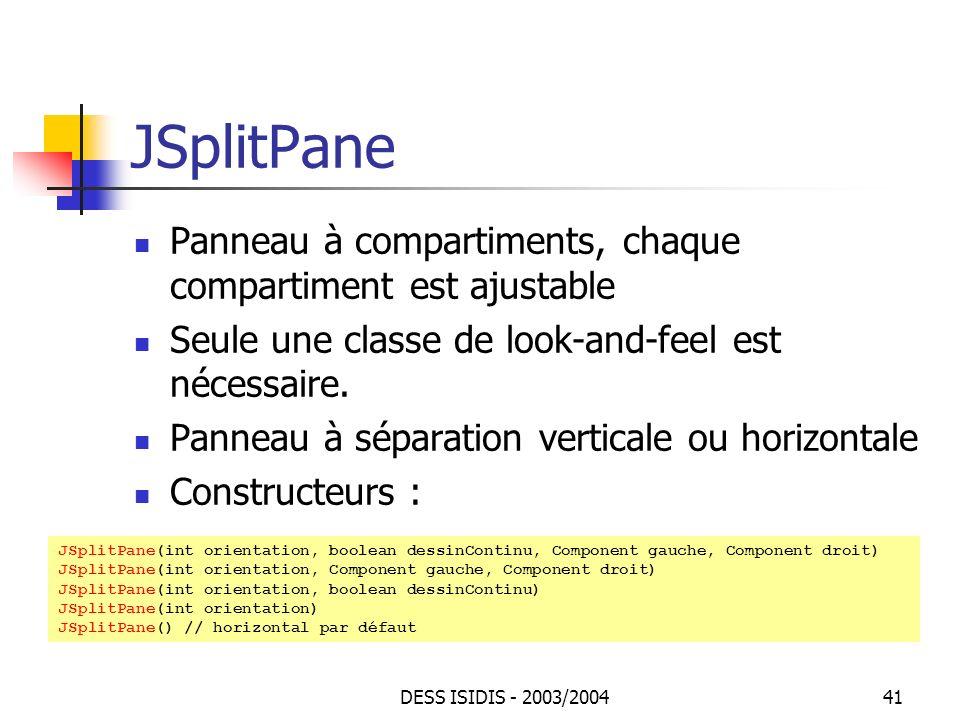 JSplitPane Panneau à compartiments, chaque compartiment est ajustable