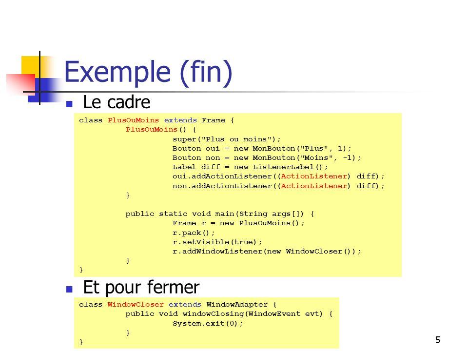 Exemple (fin) Le cadre Et pour fermer DESS ISIDIS - 2003/2004