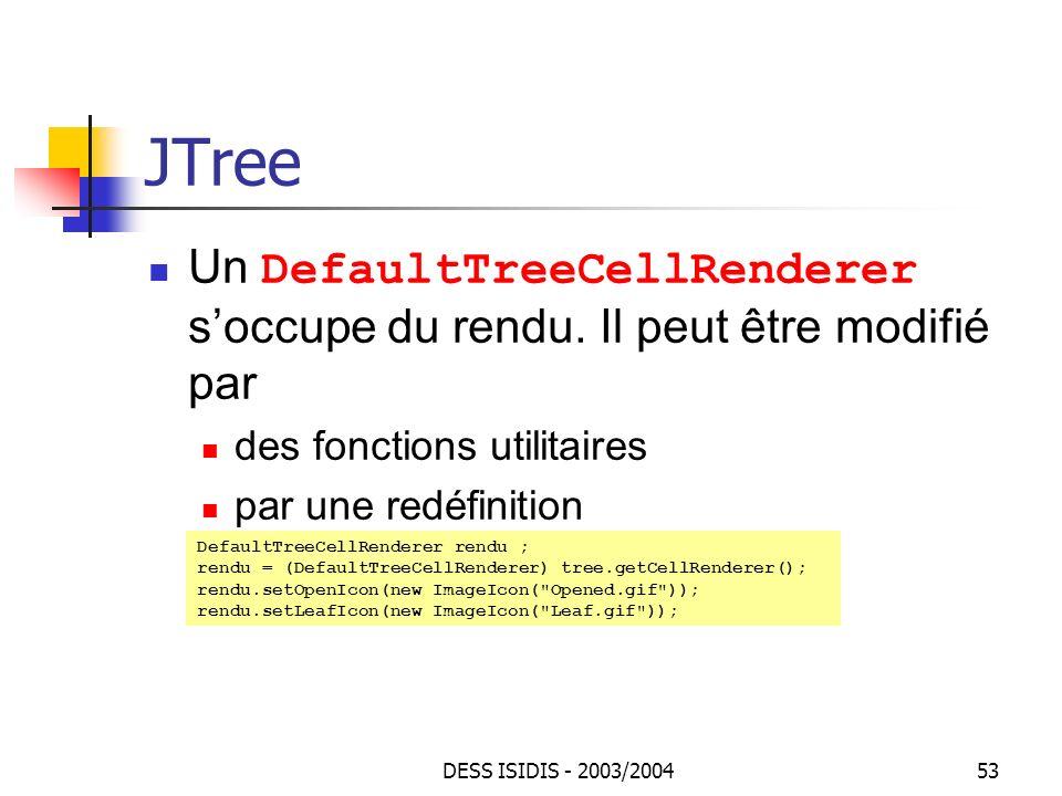 JTree Un DefaultTreeCellRenderer s'occupe du rendu. Il peut être modifié par. des fonctions utilitaires.