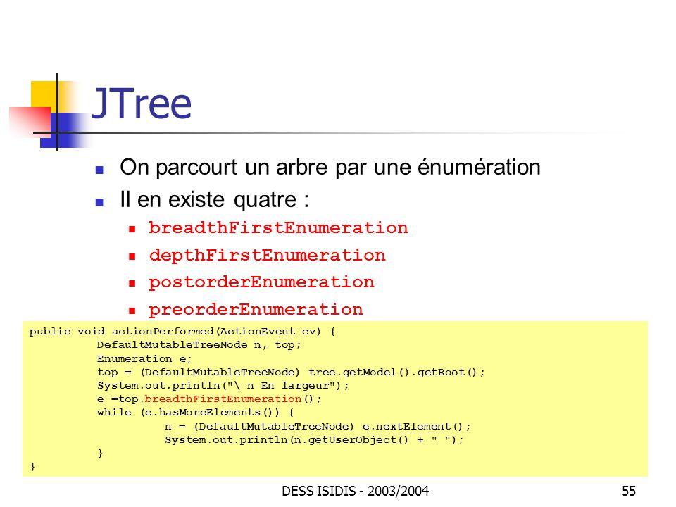 JTree On parcourt un arbre par une énumération Il en existe quatre :