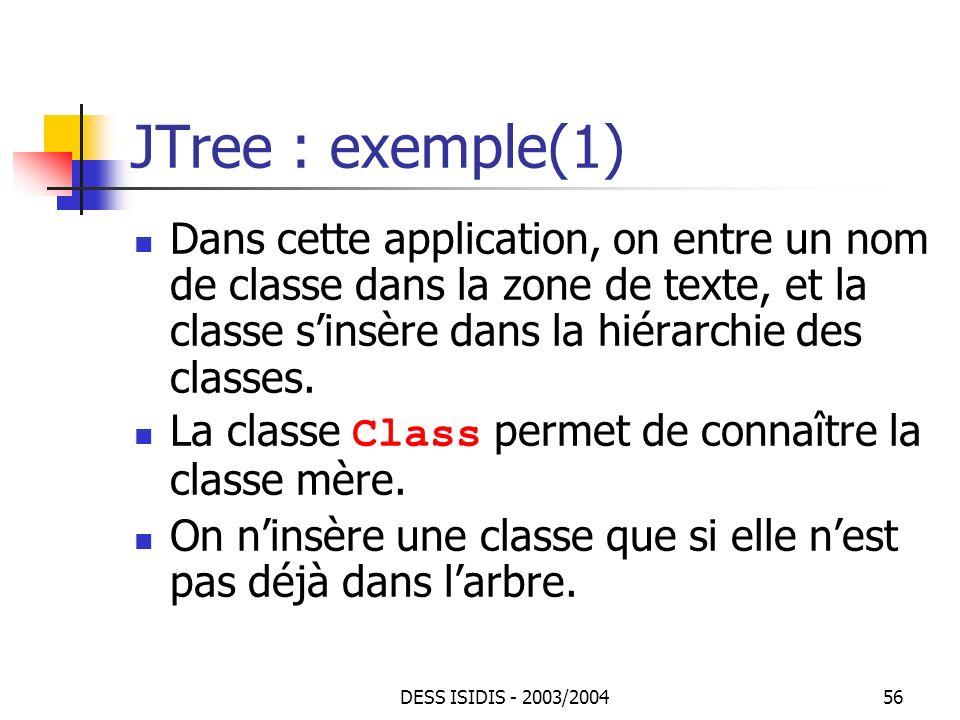 JTree : exemple(1) Dans cette application, on entre un nom de classe dans la zone de texte, et la classe s'insère dans la hiérarchie des classes.