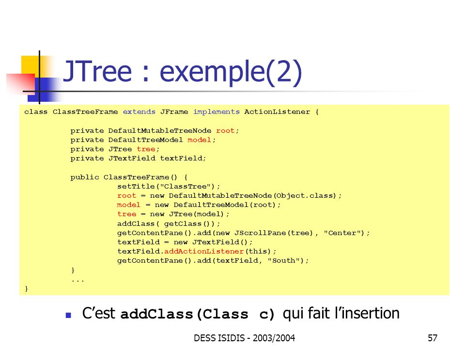 JTree : exemple(2) C'est addClass(Class c) qui fait l'insertion