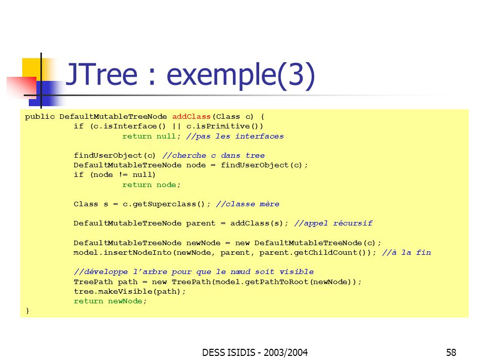 JTree : exemple(3) DESS ISIDIS - 2003/2004