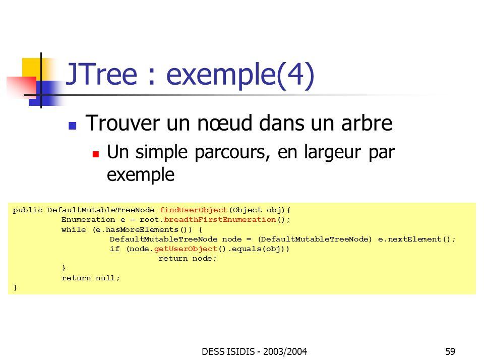 JTree : exemple(4) Trouver un nœud dans un arbre