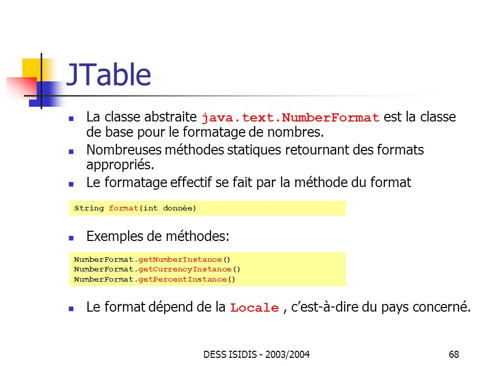 JTable La classe abstraite java.text.NumberFormat est la classe de base pour le formatage de nombres.