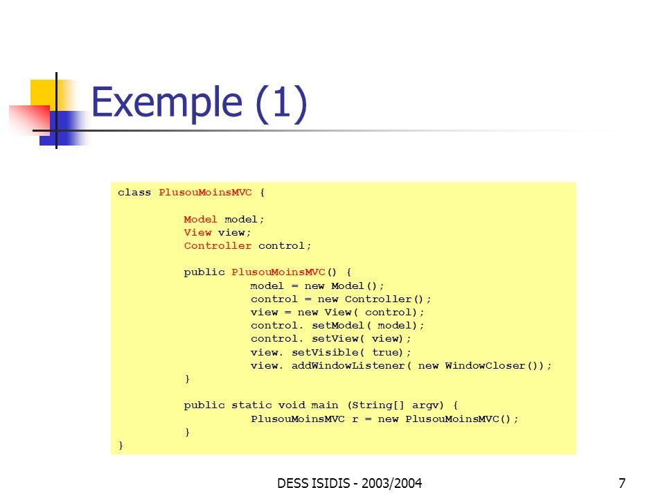 Exemple (1) DESS ISIDIS - 2003/2004 class PlusouMoinsMVC {