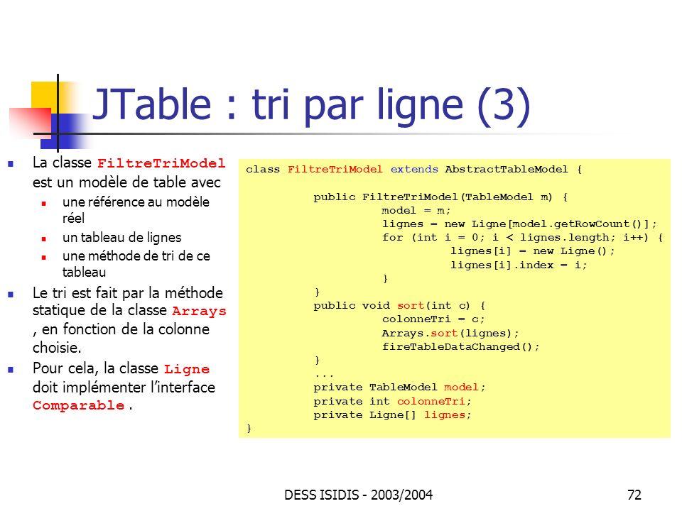JTable : tri par ligne (3)