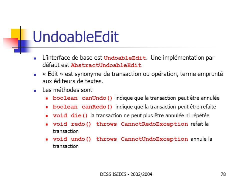 UndoableEdit L'interface de base est UndoableEdit. Une implémentation par défaut est AbstractUndoableEdit.