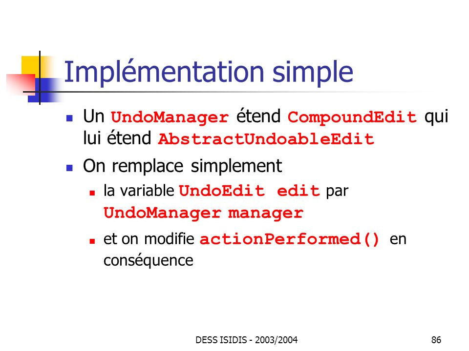 Implémentation simple