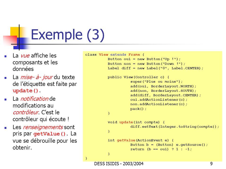 Exemple (3) La vue affiche les composants et les données