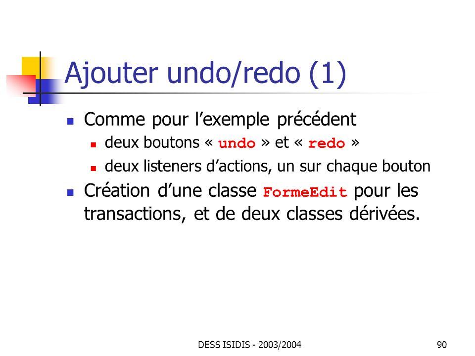 Ajouter undo/redo (1) Comme pour l'exemple précédent