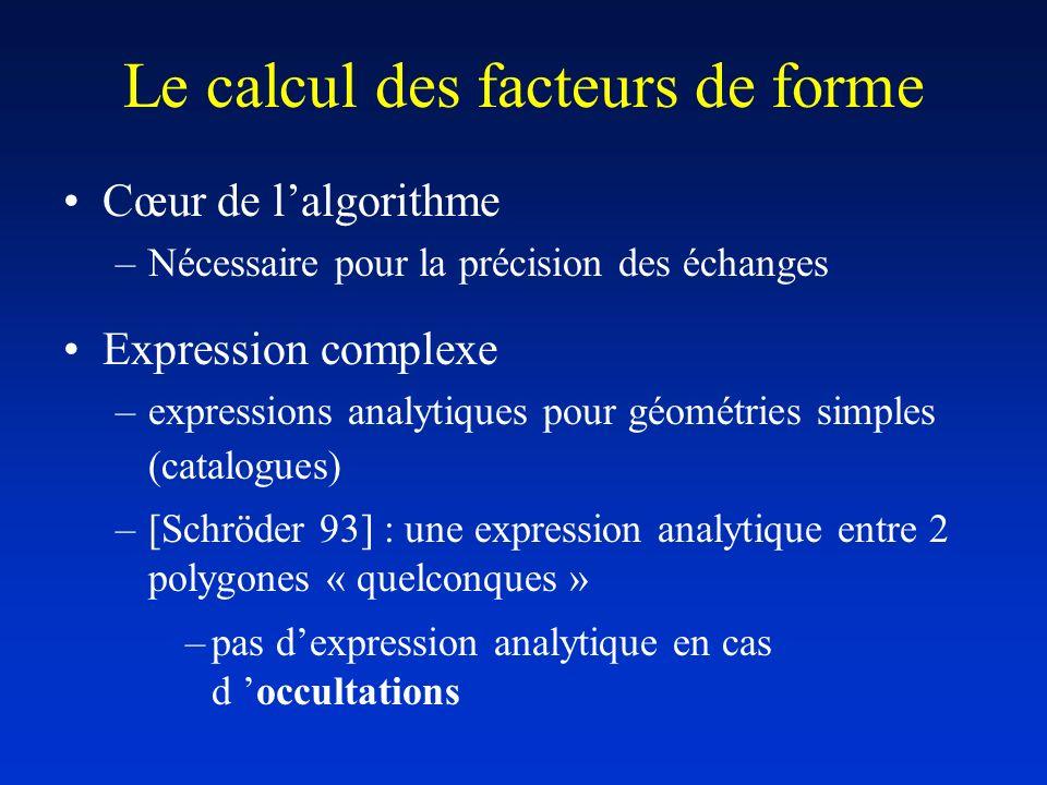 Le calcul des facteurs de forme