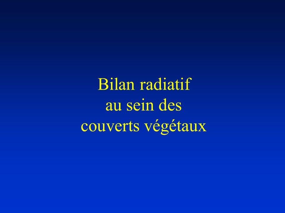 Bilan radiatif au sein des couverts végétaux