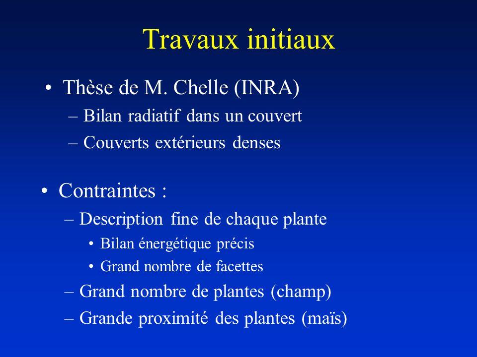 Travaux initiaux Thèse de M. Chelle (INRA) Contraintes :