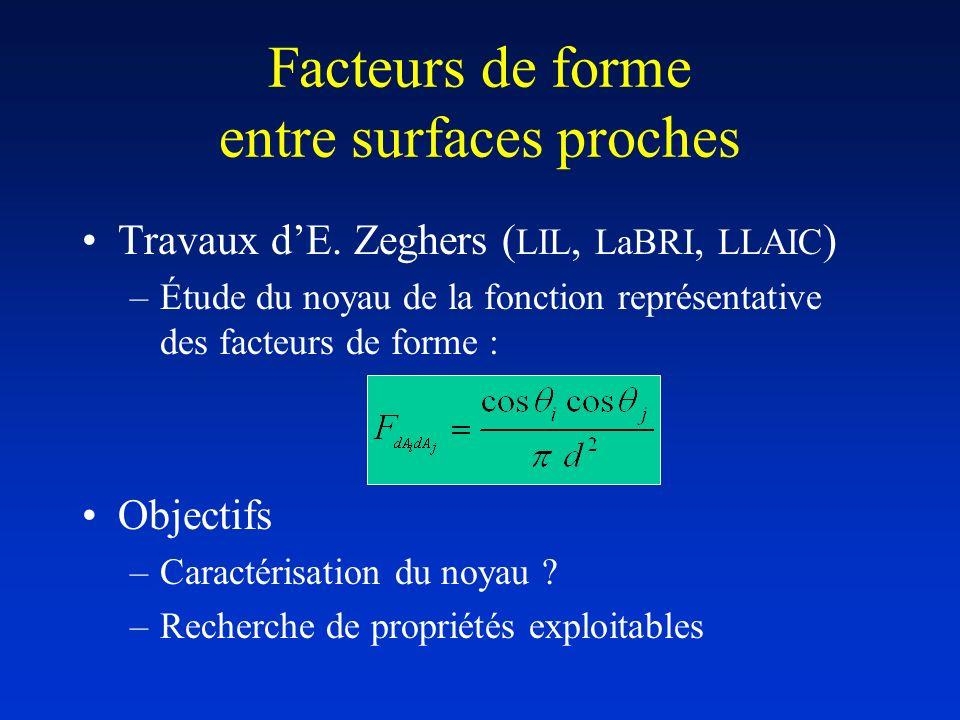 Facteurs de forme entre surfaces proches