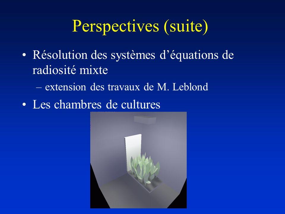 Perspectives (suite) Résolution des systèmes d'équations de radiosité mixte. extension des travaux de M. Leblond.