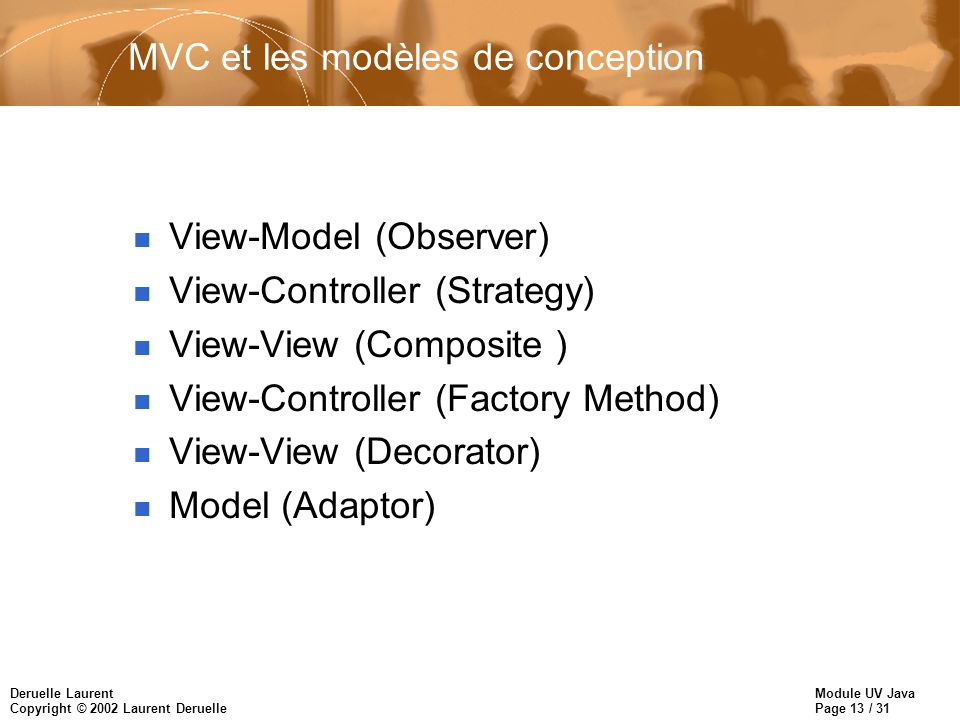 MVC et les modèles de conception