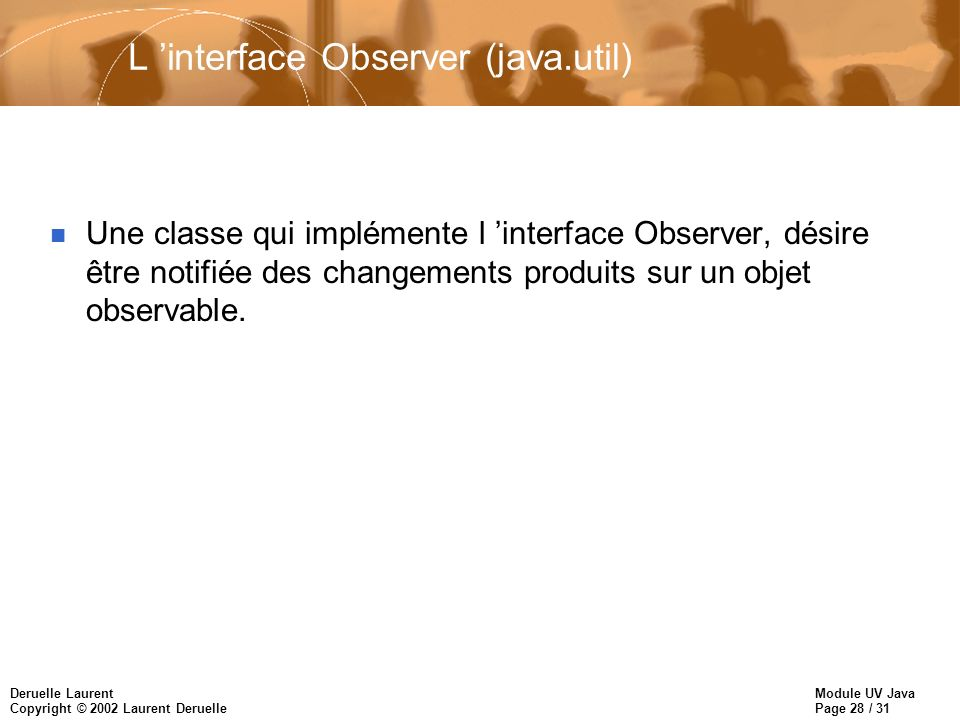 L 'interface Observer (java.util)