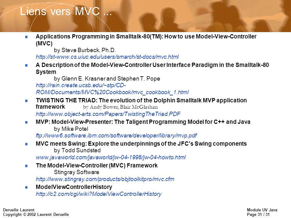 Liens vers MVC ...