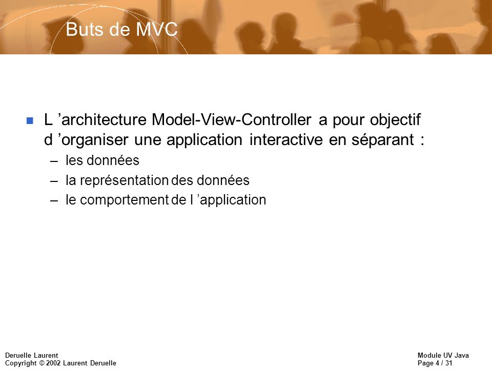 Buts de MVCL 'architecture Model-View-Controller a pour objectif d 'organiser une application interactive en séparant :