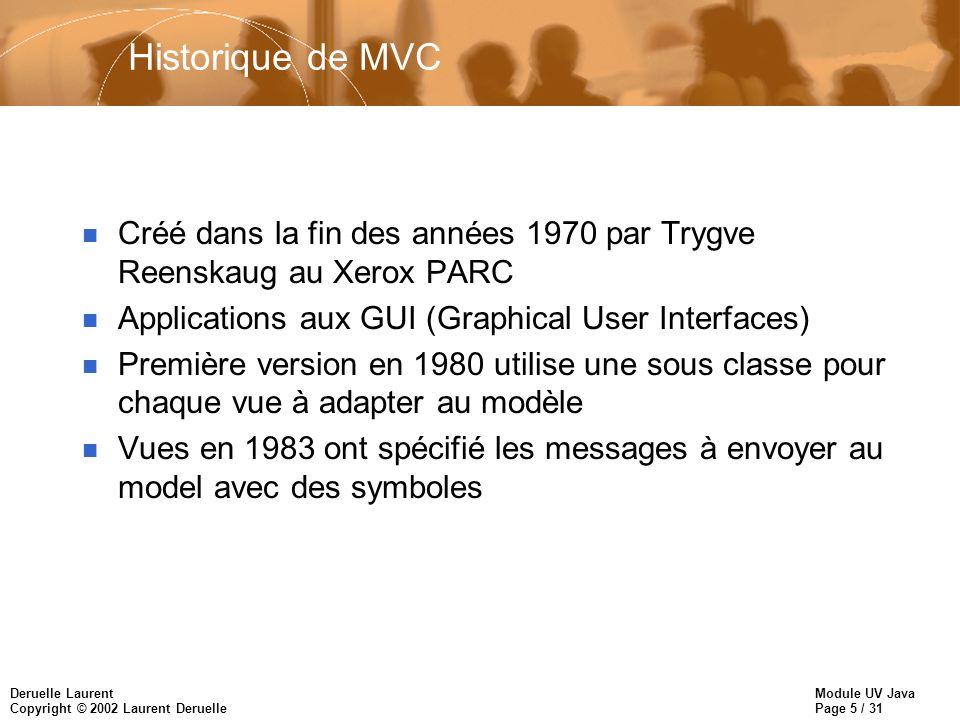 Historique de MVC Créé dans la fin des années 1970 par Trygve Reenskaug au Xerox PARC. Applications aux GUI (Graphical User Interfaces)