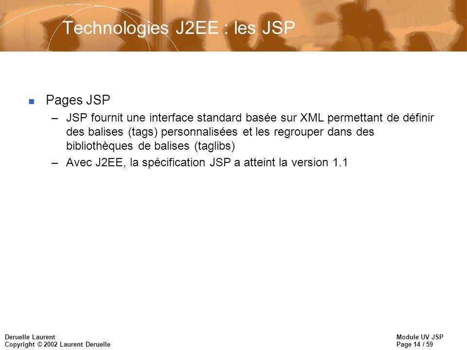 Technologies J2EE : les JSP