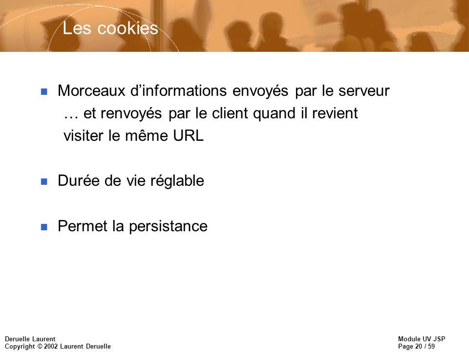 Les cookies Morceaux d'informations envoyés par le serveur