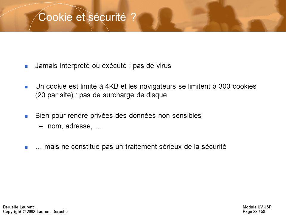Cookie et sécurité Jamais interprété ou exécuté : pas de virus