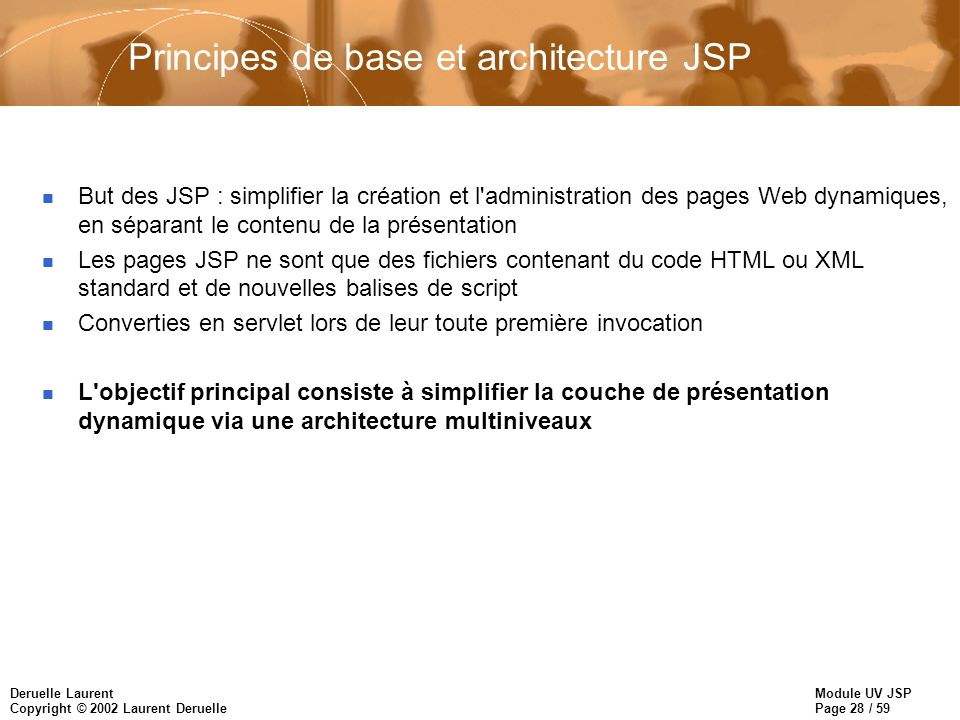 Principes de base et architecture JSP