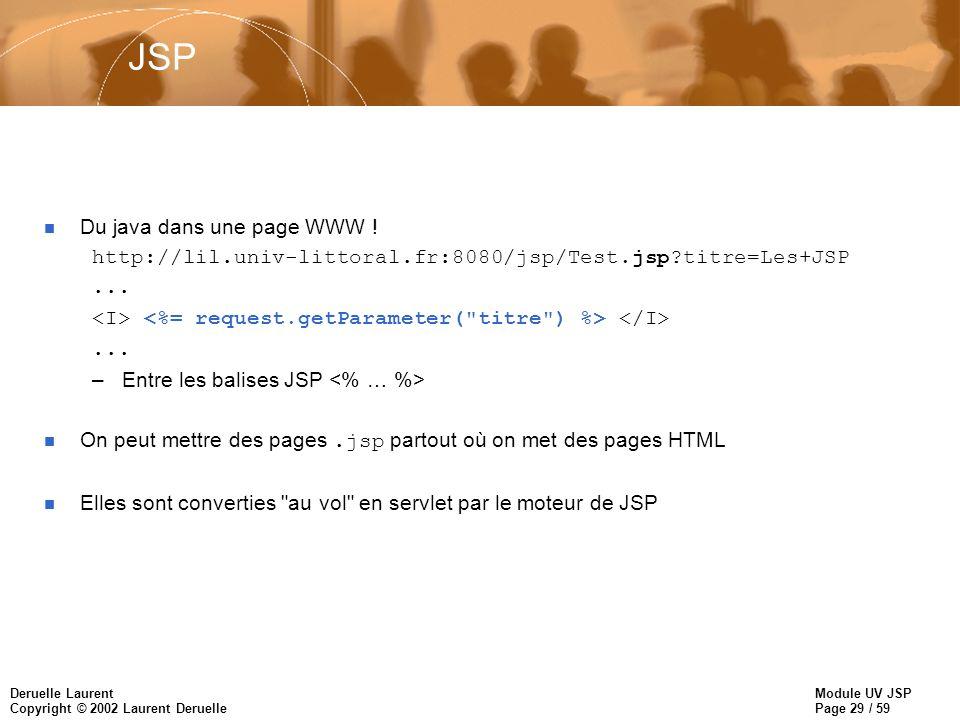 JSP Du java dans une page WWW !