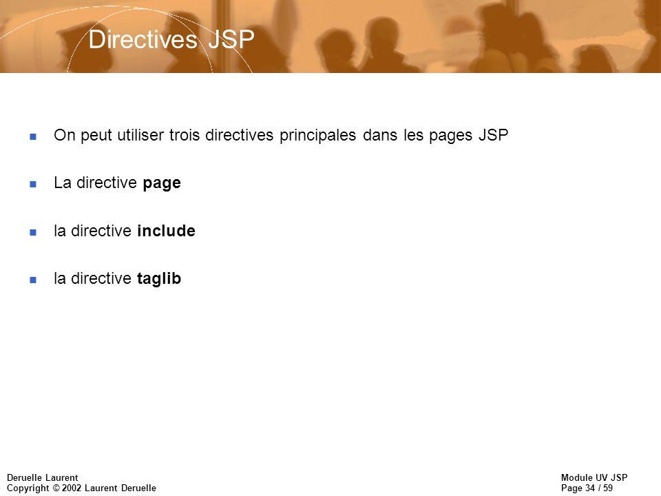 Directives JSP On peut utiliser trois directives principales dans les pages JSP. La directive page.