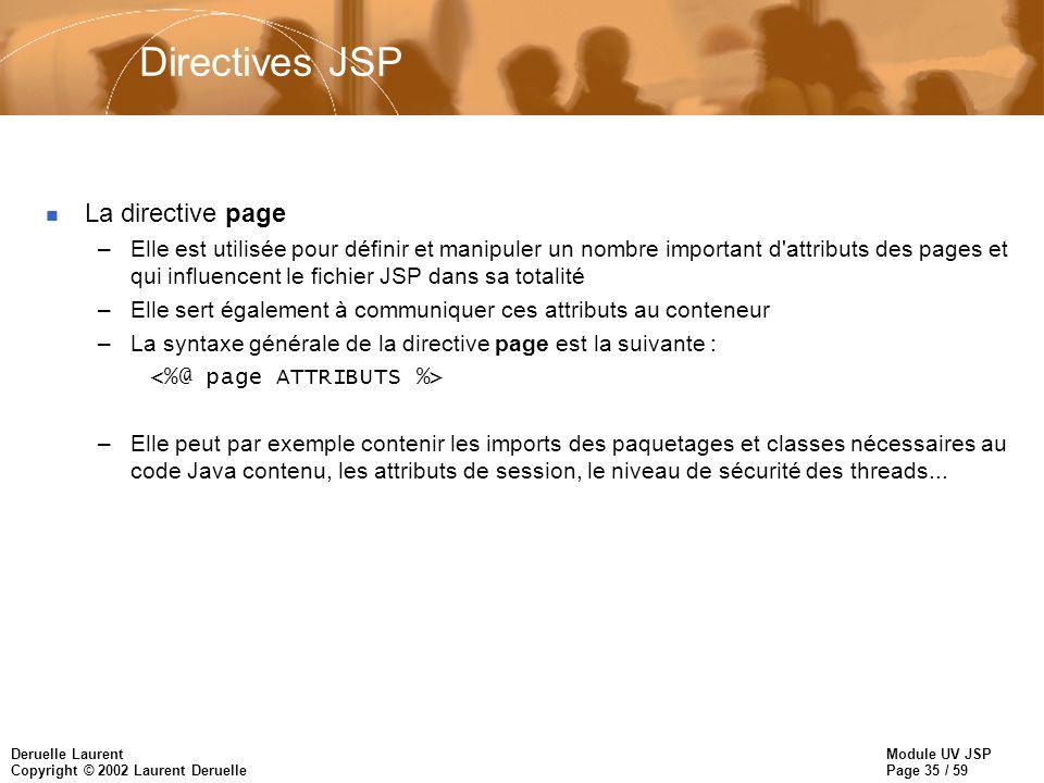 Directives JSP La directive page