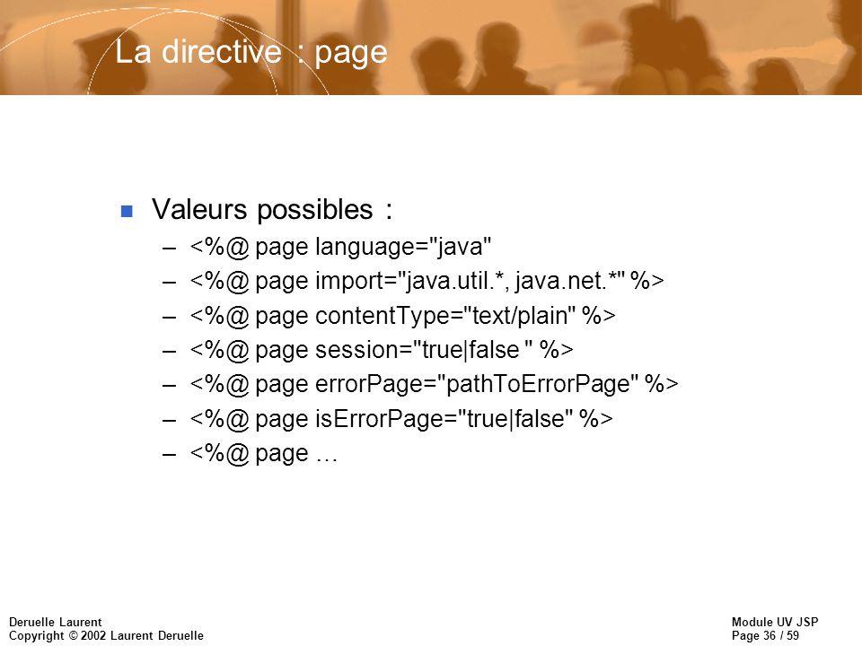 La directive : page Valeurs possibles : <%@ page language= java