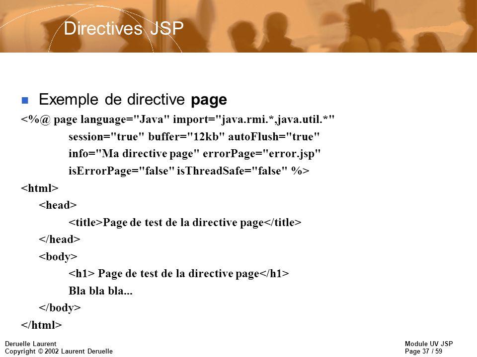 Directives JSP Exemple de directive page