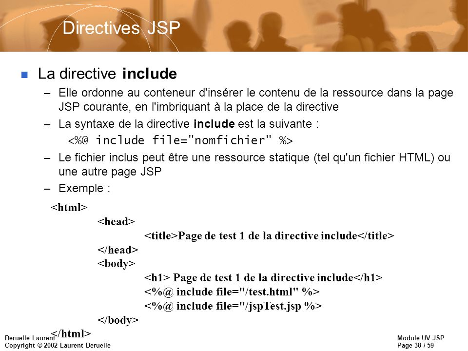 Directives JSP La directive include