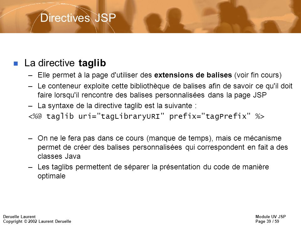 Directives JSP La directive taglib