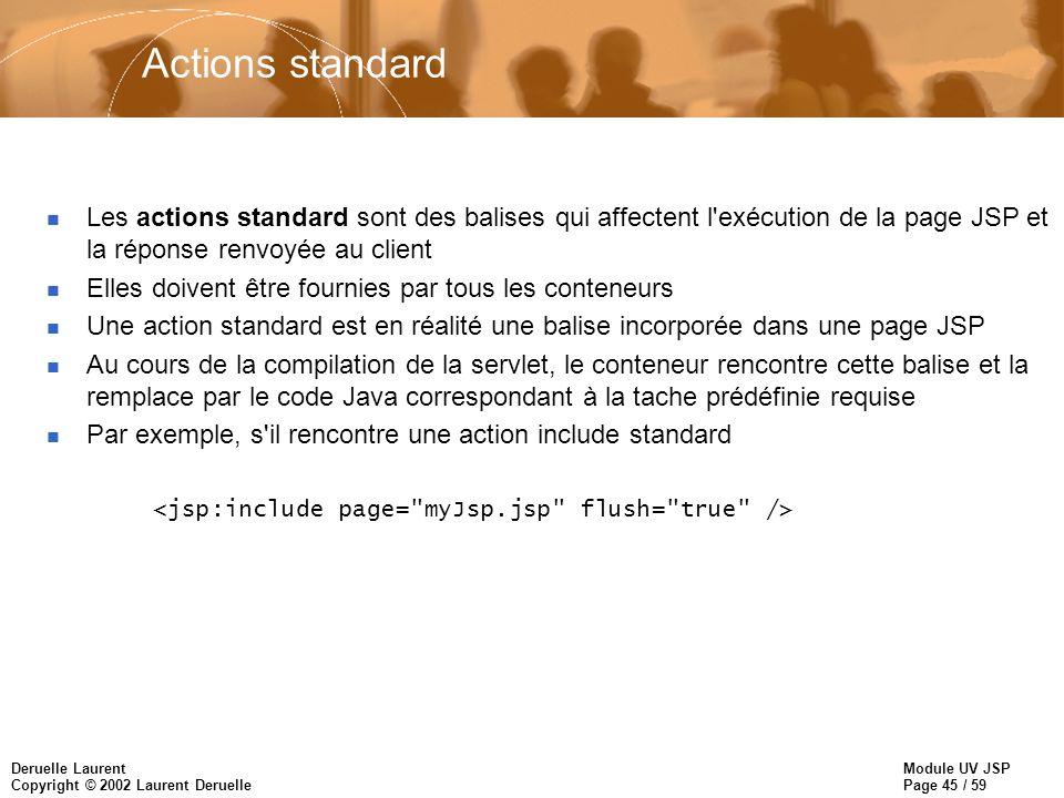 Actions standard Les actions standard sont des balises qui affectent l exécution de la page JSP et la réponse renvoyée au client.