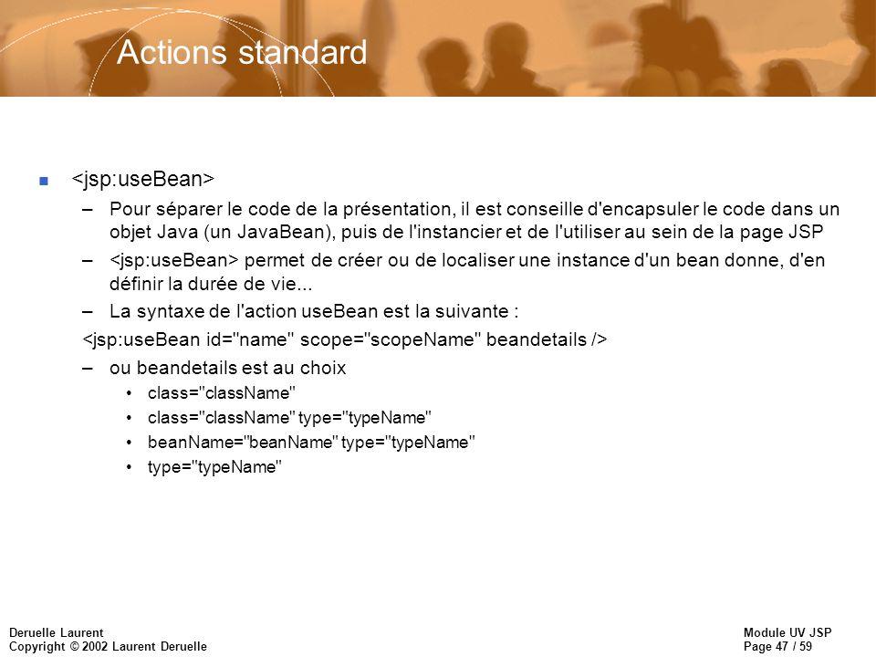 Actions standard <jsp:useBean>
