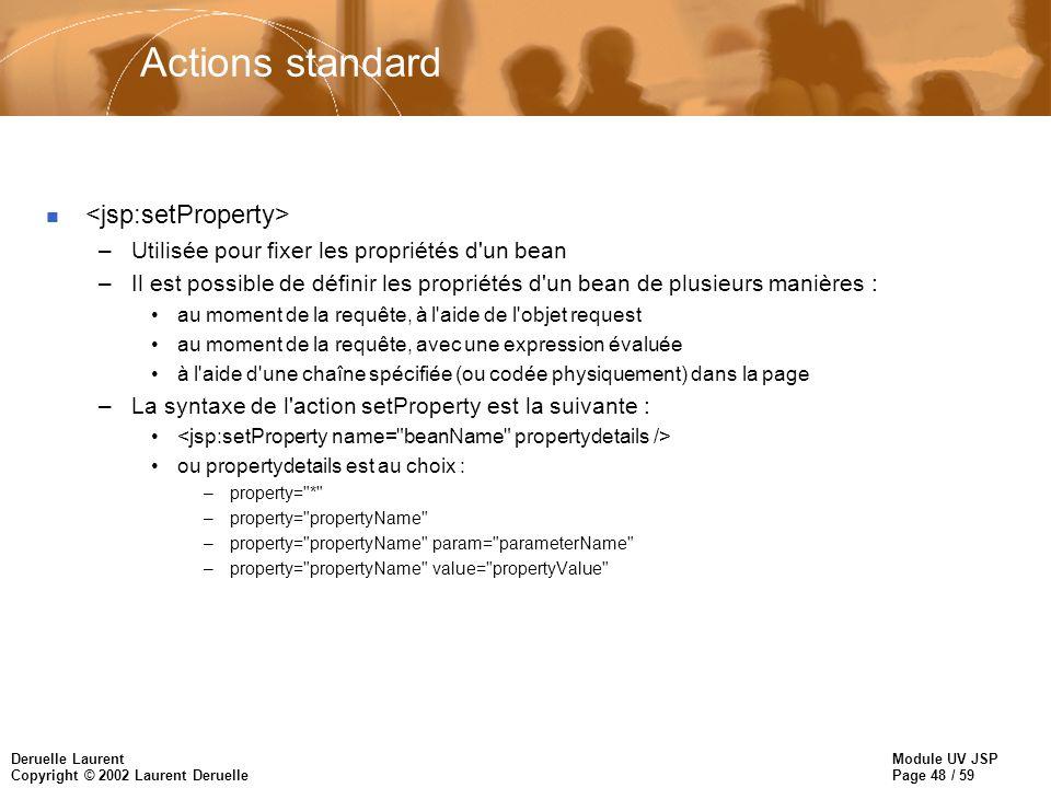 Actions standard <jsp:setProperty>